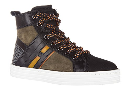 Hogan Rebel Sneakers Kinder Schuhe Jungen Kinderschuhe High Leder mid cut Schwar