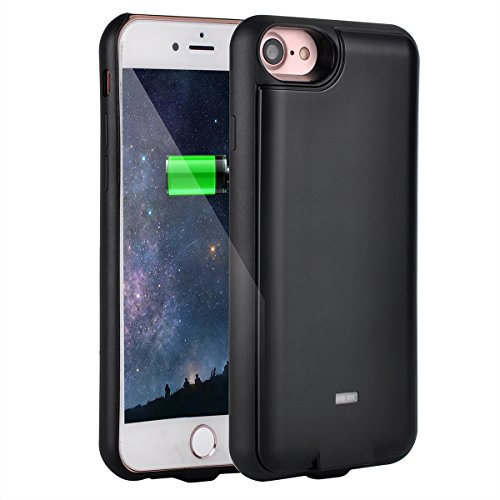 NuCharger QI5000 5000mAh Qi Wireless Charging Battery Case for iPhone 7 Plus (6 & 6s Plus Compatible) Abs Edge, Slim Design, with Bonus Tempered Glass, NUNET