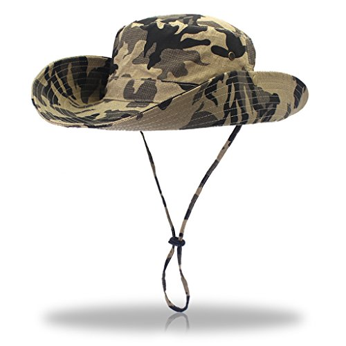 Jeelow Outdoor Sun Hats with Wind Lanyard Bucket Hat Fishing Cap Boonie for Men/Women/Kids (Khaki Camouflage)