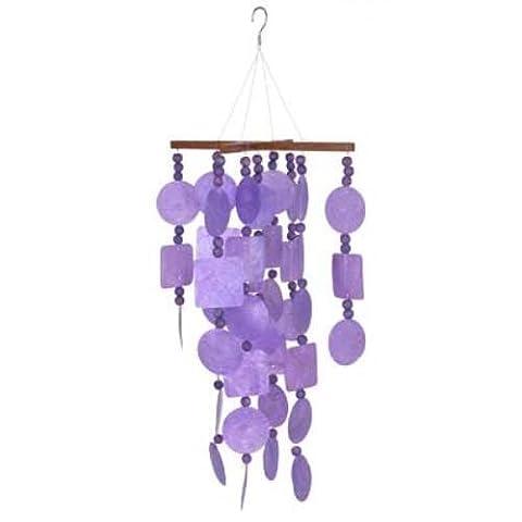 Woodstock Purple Capiz Chime with Wood Beads-