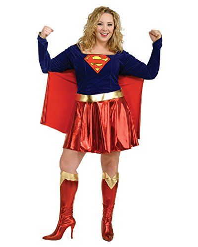 Womens Plus Size Super Woman Costume SuperHero Comic Book Couples Costume Sizes: One Size (Couples Plus Size Costumes)