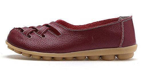 Cuir Flats Rouge Casual Femme Vin Chaussures De Loafers Ville Conduite Plates Mocassins Loisir Penny Bateau 7B4I7wq