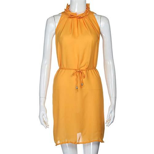 Dresses Elegant for Girls,Mlide Women's Sleeveless Summer Plain Pleated Dress Beach Party Casual Dress,Yellow XL by Mlide (Image #4)