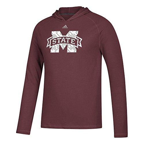 adidas NCAA Mississippi State Bulldogs Mens Line Shine Ultimate L/S Hoodline Shine Ultimate L/S Hood, Maroon, XX-Large
