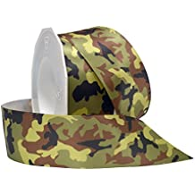 Morex Ribbon Camo Double Face Satin Fabric Ribbon with 1-1/2-Inch by 20-Yard Spool, Forest