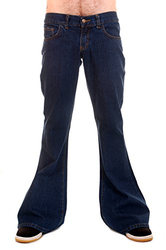 Run & Fly Men's 70's Retro Vintage Denim Bellbottom Super Flares 34 Long Stonewash Blue - Mens Flare Jeans