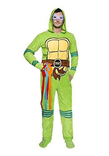 [Teenage Mutant Ninja Turtles Adult Green Hooded Union Suit and Masks (Large)] (Ninja Turtle Suits)