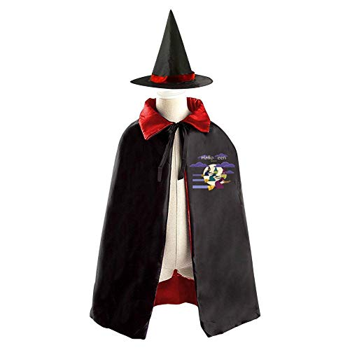 69PF-1 Halloween Cape Matching Witch Hat Jack-o-Lantern Flying Witch Wizard Cloak Masquerade Cosplay Custume Robe Kids/Boy/Girl Gift -