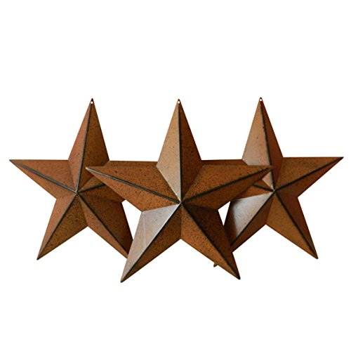 CVHOMEDECO. Country Rustic Antique Vintage Gifts Rusty/Black Metal Barn Star Wall/Door Decor, 12-Inch, Set of 3.