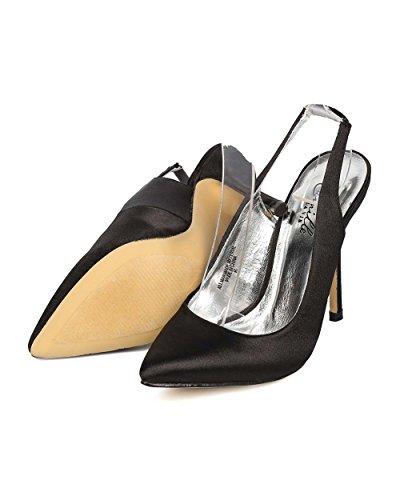 Camille Ei10 Mujeres Satin Pointy Toe Slingback Stiletto Pump - Negro