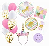 Unicorn Party Supplies Set - 72pc Pink & Gold Decorations Bundle - Tableware for 16 Plates Napkins Cups - Pack includes BONUS Balloons and Unicorn Headband! Girls Party Shower Sweet 16 or 1st Birthday - Love, Summer!