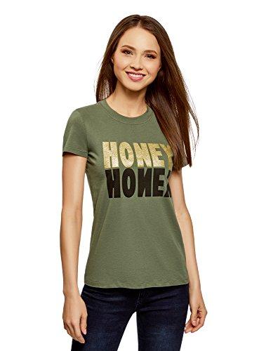 Etichetta Stampa Cotone Ultra Senza Donna oodji con Shirt Verde in 6993p T UzTpRWq
