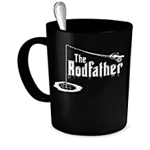 The Rodfather - Ice Fishing 11-oz Coffee Mug Cup Made of High-Fired Black Ceramic with Large Easy-Grip Handle is Microwave Oven and Dishwasher Safe