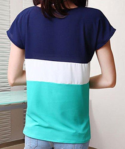Mujeres Rayas De Manga Corta De La Gasa Camisas Blusa Sueltas Camisetas Tops T Shirt Verde