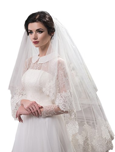 "Bridal Veil Jennifer from NYC Bride collection (mid-length 45"", ivory) by NYC Bride"