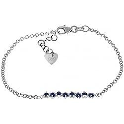 1.55 Carat 14K Solid White Gold Bracelet Natural Sapphire