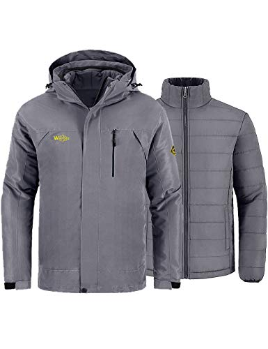 Wantdo Men's 3-in-1 Ski Jacket Waterproof Winter Coat for Snowboarding