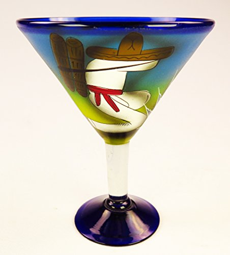 Mexican Margarita Martini glasses and matching Pitcher, Hand Painted Poncho with Cactus (Set of 6 glasses) by Mexican Margarita Glasses (Image #1)
