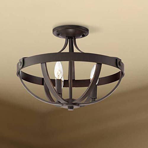 Anaya Rustic Farmhouse Ceiling Light Semi Flush Mount Fixture Bronze 15
