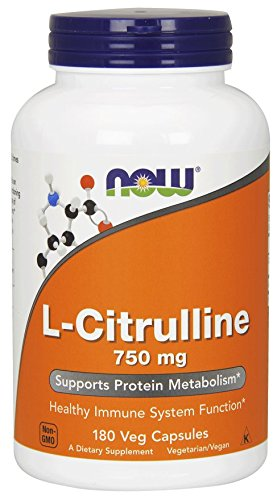 NOW Foods L-Citrulline 750 mg, 180 Capsules (2 Pack)