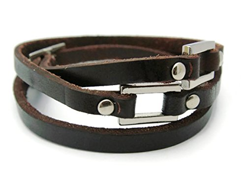 [APECTO Jewelry Quality Leather Adjustable Charm Bangle Wristband Cuff Bracelet (Dark Brown), SR67] (Patrick Starfish Costumes)