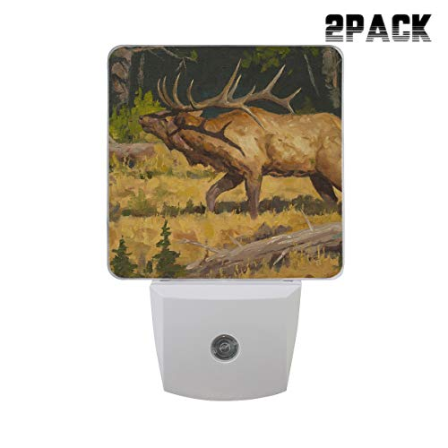 (Wildlife Art Elk Painting Night Light Led Plug-in with Auto Dusk to Dawn Sensor,Adjustable Brightness Warm White Lights for Hallway,Bedroom,Kitchen,Stairway,2 Pack)