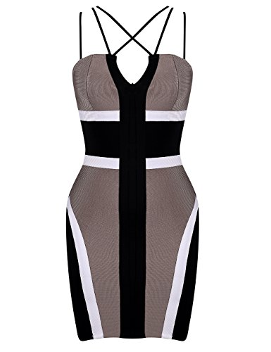 Brown Strappy Dress - Maketina Women Strappy V Neck Mini Bandage Club Bodycon Dress Light Brown L