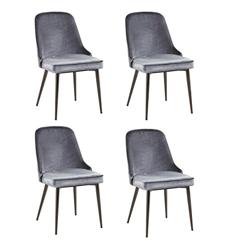 Riverbank Upholstered Dining Chairs with Tapering Legs Blue and Black Nickel (Set of 4) (Blue Velvet Chairs Dining)
