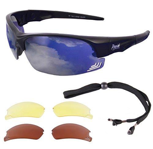 Edge Black Sunglasses for Pilots: Interchangeable UV400 - Replaceable Lenses Sunglasses With