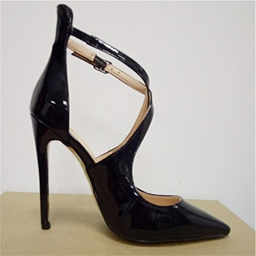 Cm Novelty 5 Toe Pumps 11 45 VIVIOO 5 34 Fabric Size Sandals Shoes Leather High Prom Pointed Fashion Shoes Heeled Black OHxqwBnqA8