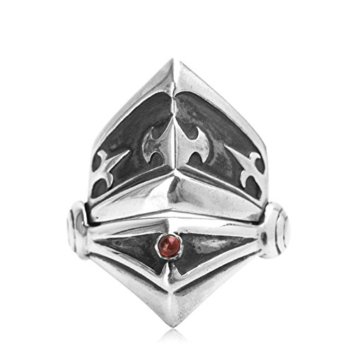 Beydodo Mens Silver Ring, Mask Armor Ring Size 9.5 Mens Rings Hip Hop by