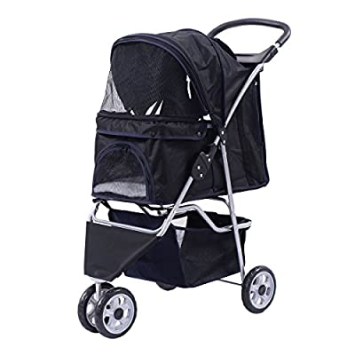 Giantex Three Wheel Pet Stroller Cart Cat Dog Foldable Carrier Travel Jogger 5 Color from Giantex