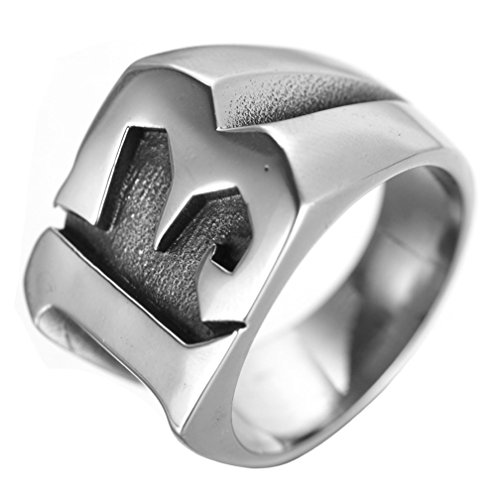 Lucky Stainless Steel Ring - INRENG Men's Stainless Steel Lucky Number 13 Biker Ring High Polished Silver Band Size 9