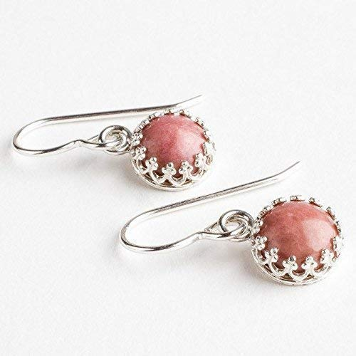 (Pink Rhodonite Gemstone Earrings in Sterling Silver with Princess Crown settings)