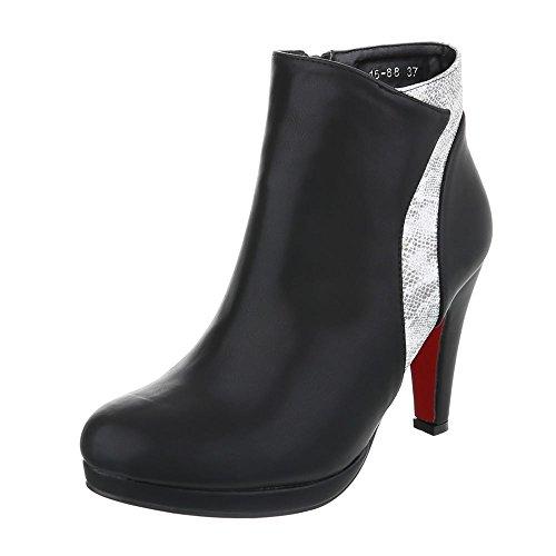 Ital plisadas Design negro Botas gris y Mujer qSTBqWrF