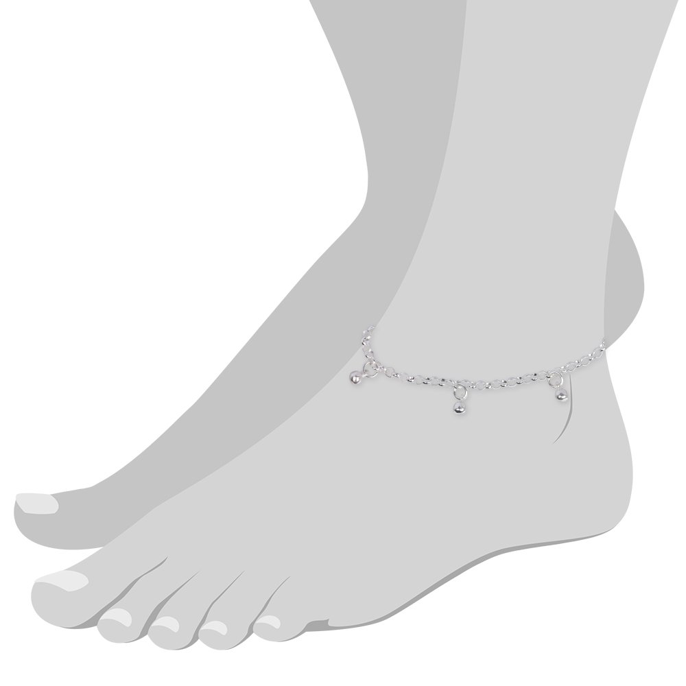 SilberDream anklet Bollywood, 10.03 inch 925 Sterling Silver SDF015