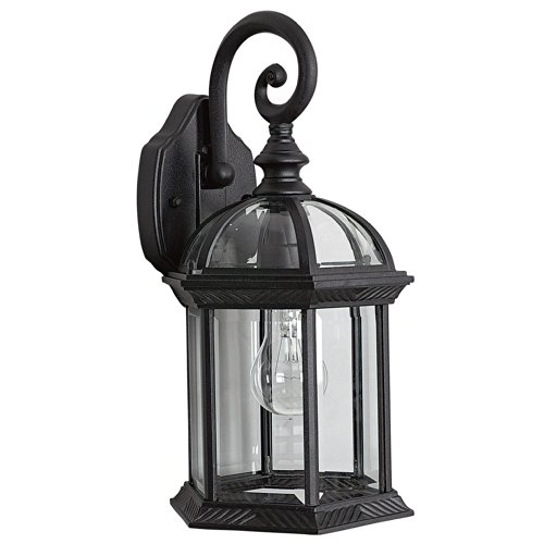 Sunset Lighting F7949-31 Outdoor Wall Sconce with Clear Beveled Glass, Black Finish