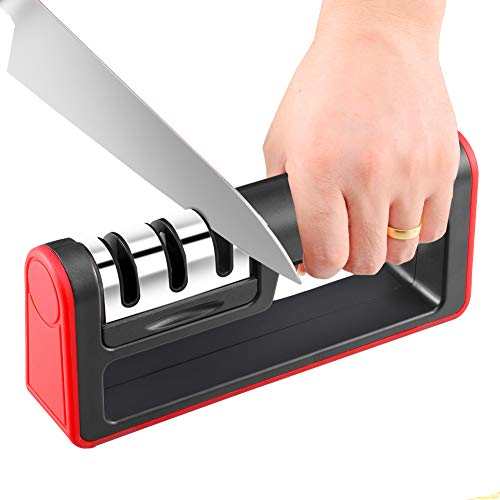 - Knife Sharpener 3-Stage Knife Sharpening System, Quickly Sharpen Dull Knife, Non-slip Base Kitchen Knife Sharpener, Safe and Easy to Use by SONGUO