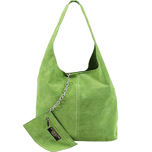 SHOULDER HOBO PURSE NEW ZIPPED CHAIN SUEDE LARGE REAL WOMENS Green BAG Ox0pq6