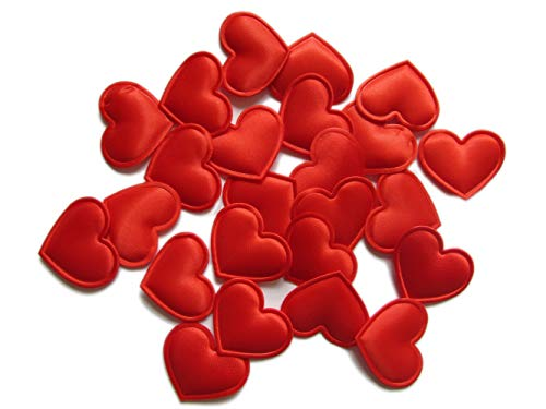 d Satin Heart Applique for Sewing Embellishment,DIY Hair Bows Craft,Wedding Party Decoration(Red) ()