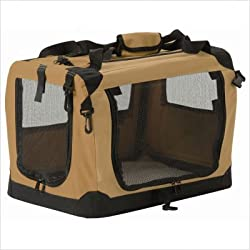 Suncast Portable Soft-Sided Folding Pet Carrier for Dogs Cats or Small Animals 23x16x16