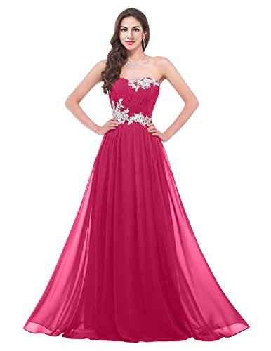 Gown Sweetheart Bridemaid Chiffon Long TalinaDess E001LF Applique Fuchsia Dress Prom xp6Rnqw