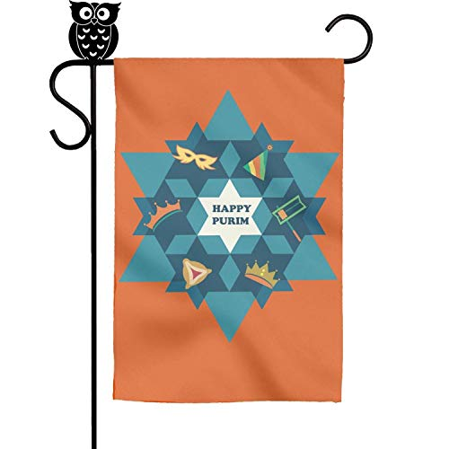 hhgddcn Happy Purim David Star with Objects Great Gift Fade Resistant Yard Evergreen Garden Flag