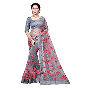 Women's Net Saree With Blouse Piece