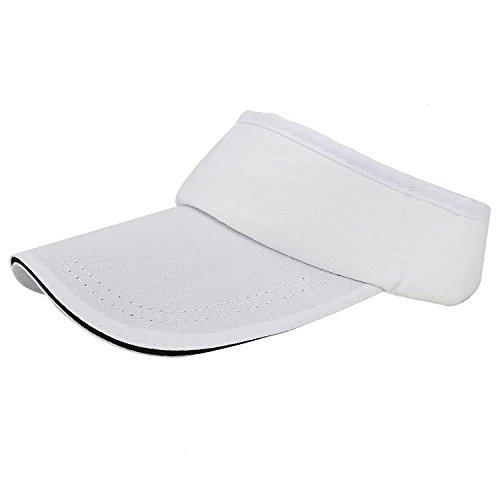 Buorsa ホワイトサンバイザー 調節可能な帽子キャップ テニス ゴルフ ランニング あらゆるスポーツに最適