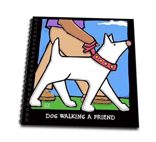 3dRose db_36694_1 Dog Walker, Cartoon Dogs, Dogs, Dog, Funny Dogs, Puppies. Pets, Funny Pets, Animals-Drawing Book, 8 by 8-Inch