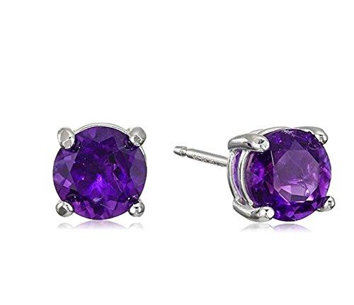 teel Studs Earrings Little Girl - Women - Men Round 5MM Birthstone Cubic Zirconia Hypoallergenic Earrings ()