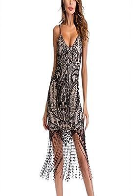 Sherro Women's Deep V Neck Spaghetti Strap Tassel Dress Floral Lace Fringed Flapper Bodycon Mini Dress