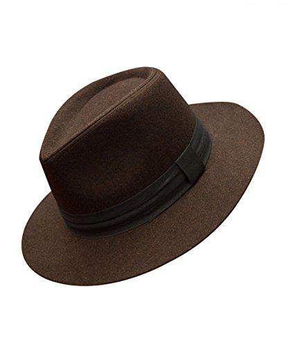 Men's Solid Color Felt Fedora Hat]()