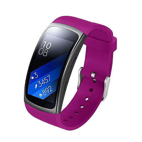 Compatible Samsung Gear Fit2 /Fit2 Pro Band,Soft Silicone Replacement Strap Sport Band Bracelet Wristband Samsung Fit2 SM-R360 /Fit 2 Pro SM-R365 SmartWatch Fitness (Purple#)